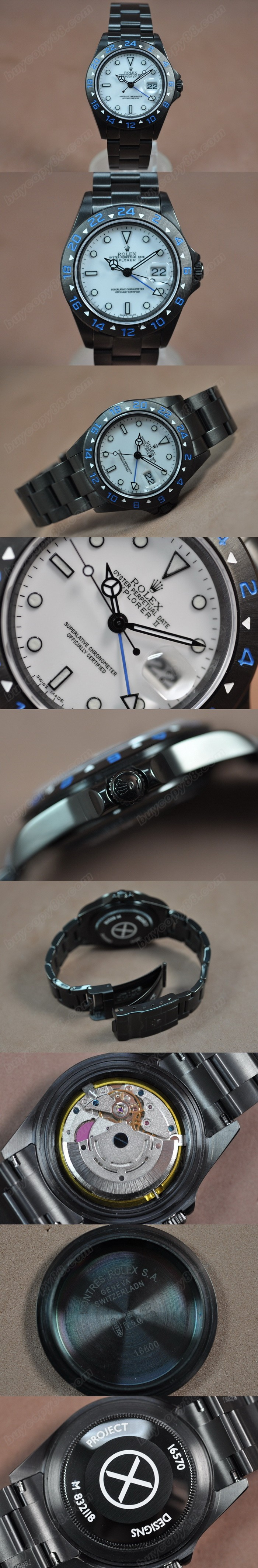 勞力士 Watches Explorer Ⅱ Full PVD 白 文字盤 Asia 2813 GMT 自動機芯 搭 載   0